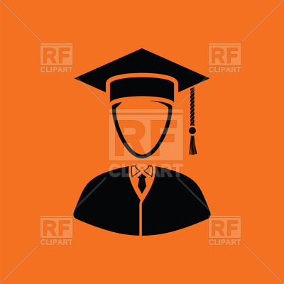 400x400 Lawyer Man Icon On Orange Background Royalty Free Vector Clip Art