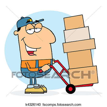 450x448 Clipart Of Lazy Delivery Man K4326140