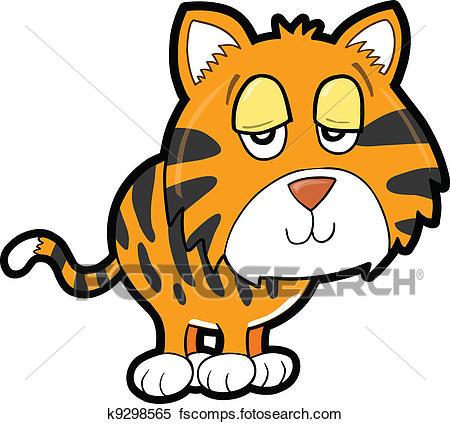 450x424 Clipart Of Sleepy Lazy Tiger Animal Vector K9298565