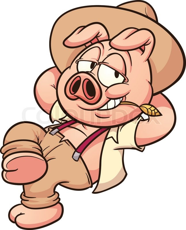 647x800 Lazy Pig Taking A Break. Vector Clip Art Illustration With Simple