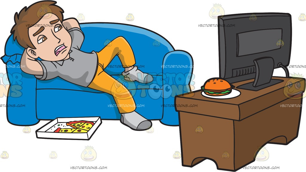 1024x577 A Lazy Man Watching Tv After Eating Pizza Cartoon Clipart