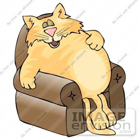450x450 Fat Orange Cat Sleeping In A Lazy Chair Clipart