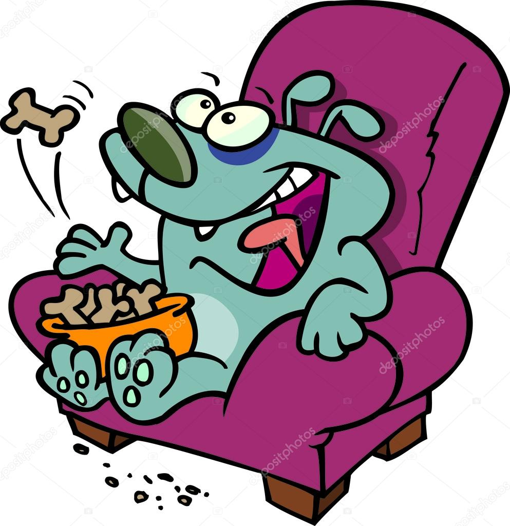993x1024 Cartoon Lazy Dog Eating Biscuits On A Chair Stock Vector