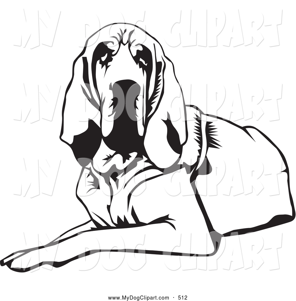 1024x1044 Clip Art Of A Tired And Lazy Bloodhound Dog, Or St. Hubert Hound