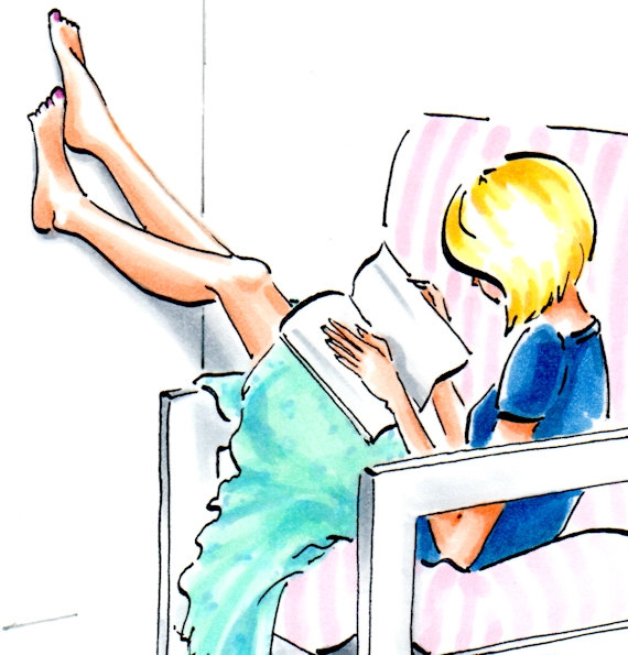 570x595 Bookworm Girl Print Blonde Hair Lazy Days Woman With Book