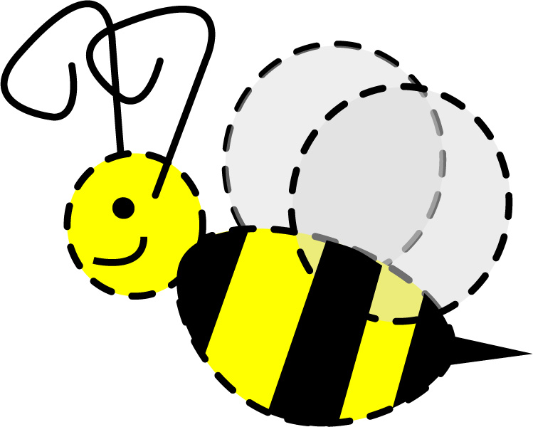 749x600 Cute Bee With Trail Clipart