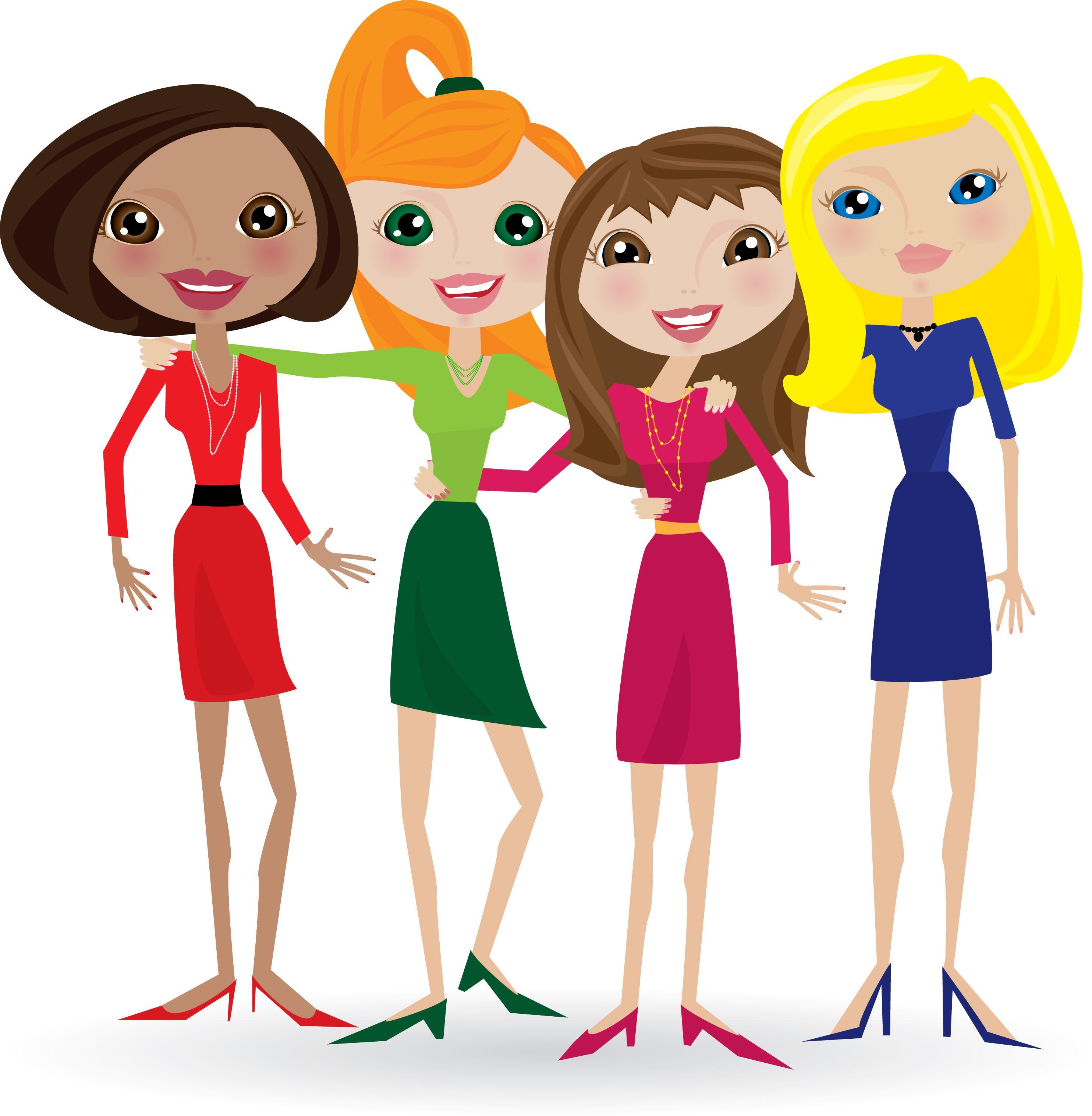 2968x3033 Best Hd Group Of Women Friends Clip Art Design Free Vector Art