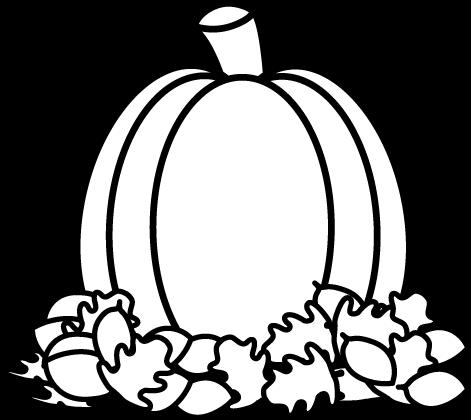 471x420 Black And White Pumpkin In Autumn Leaves Clip Art