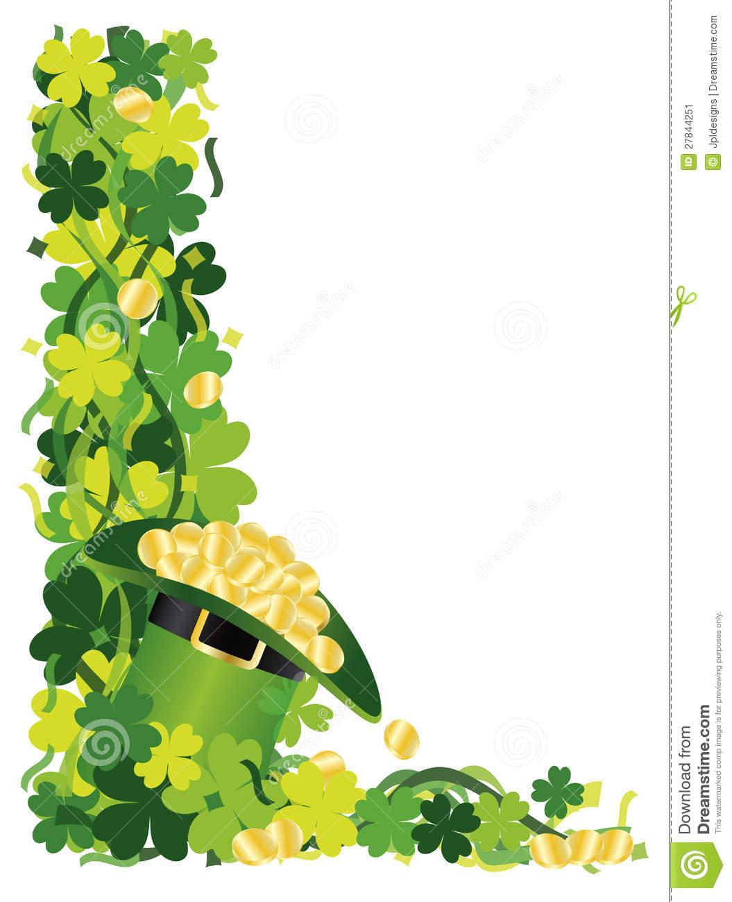 1055x1300 Four Leaf Clover Border Clipart