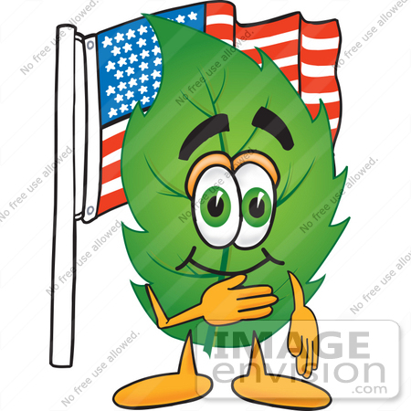 450x450 Clip Art Graphic Of A Green Tree Leaf Cartoon Character Pledging