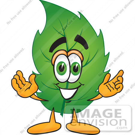 450x450 Clip Art Graphic Of A Green Tree Leaf Cartoon Character