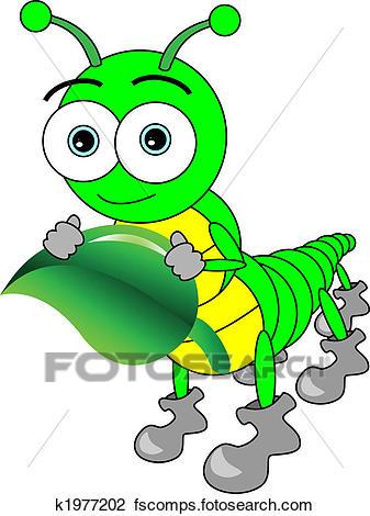 337x470 Clipart Of Cute Cartoon Big Eyed Caterpillar Holding A Leaf