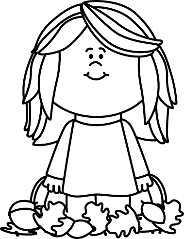 379x491 Black And White Girl Sitting In Leaves Clip Art