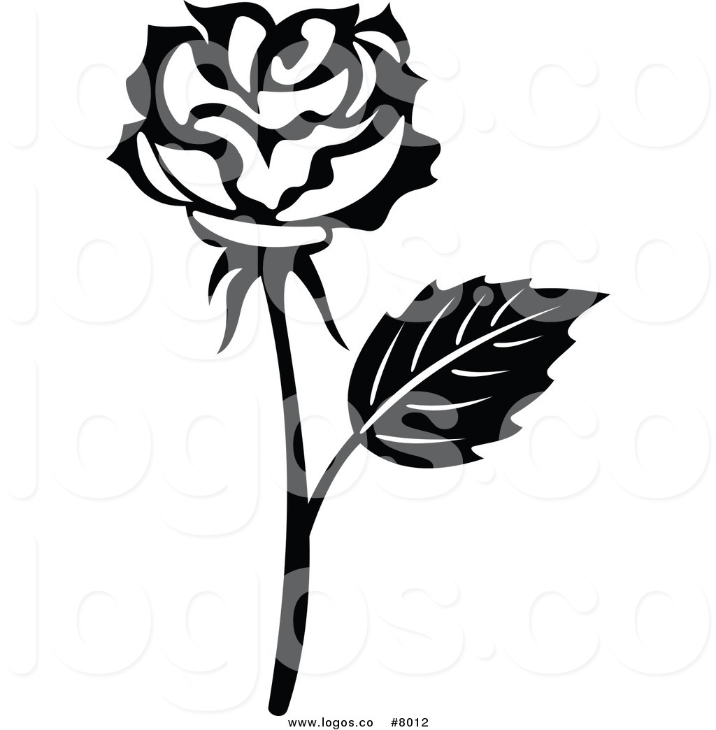 1024x1044 Royalty Free Clip Art Vector Logo Of A Black And White Rose Flower