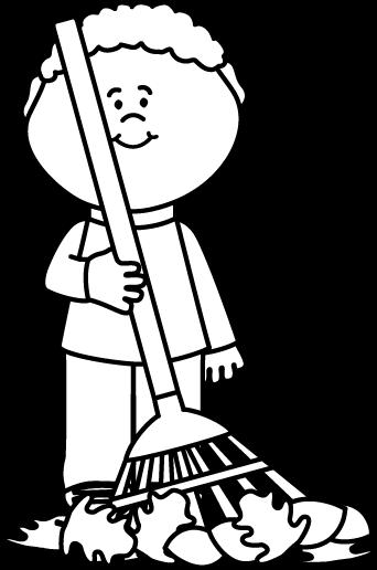 342x516 Black And White Boy Raking Autumng Leaves Clip Art