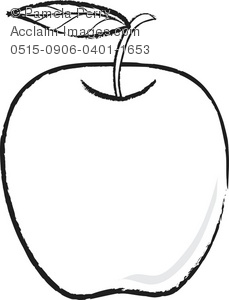 229x300 A Black And White Clip Art Illustration Of An Apple With A Leaf