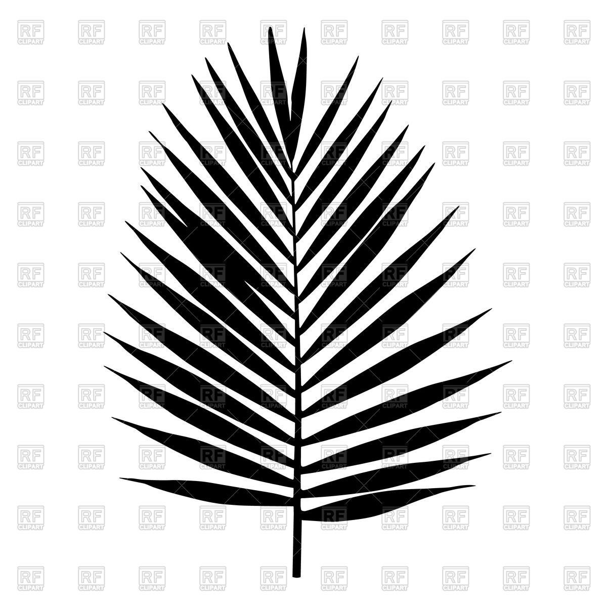 1200x1200 Palm Tree Leaves Clipart Black And White