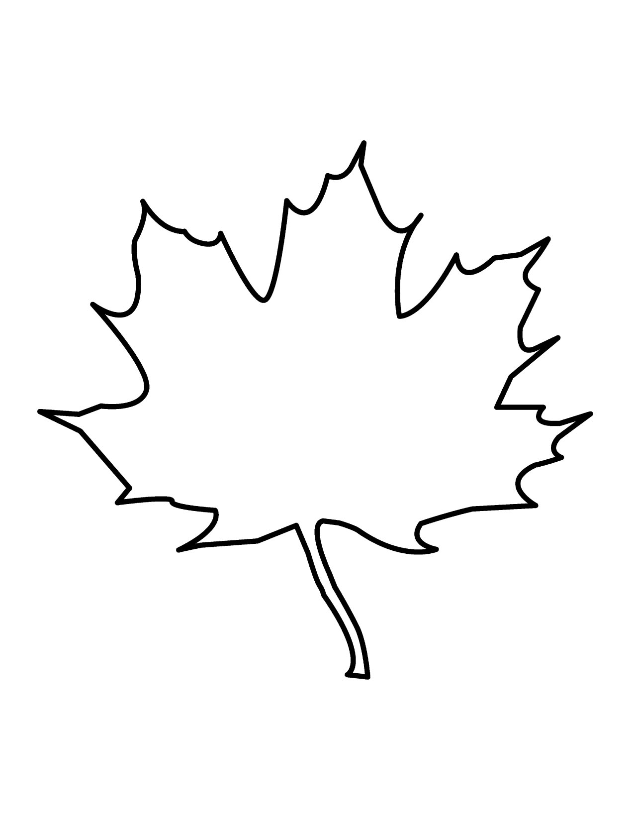 1275x1650 Leaf Outline Tree Outline With Leaves Clipart 4