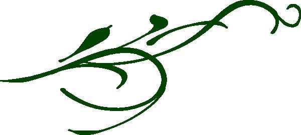 600x270 Green Leaf Swirl Clip Art
