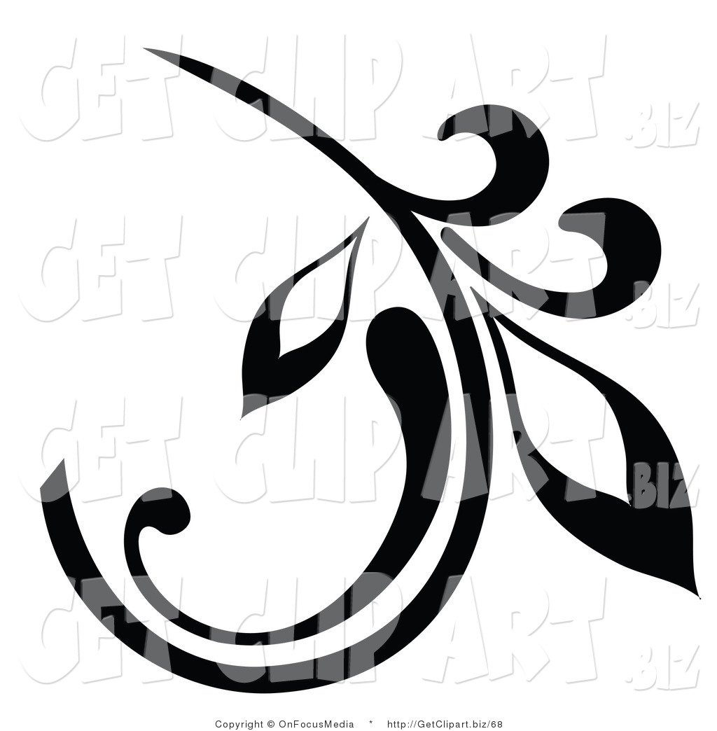 1024x1044 Clip Art Of A Black Branch Design Element With A Curly Leaf