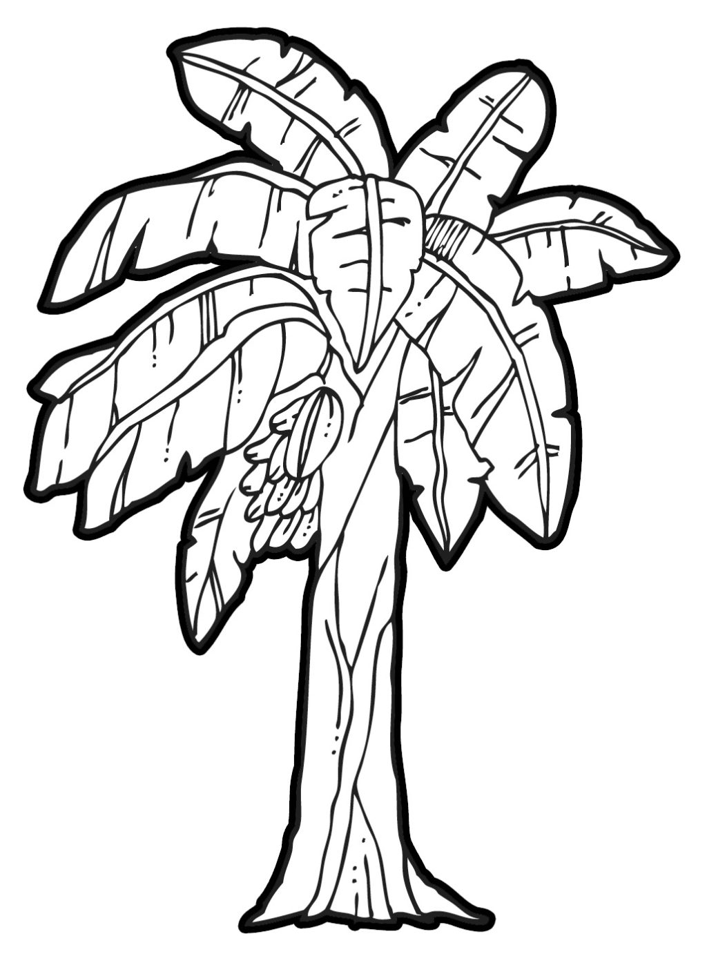 1024x1398 Banana Tree Leaf Outline Clipart Clipartfox Coloring Page Banana