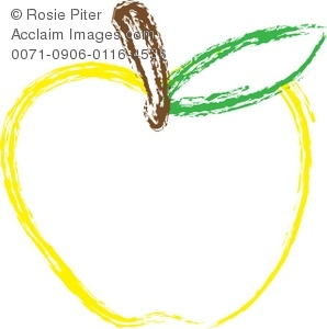 298x300 A Clip Art Outline Of A Yellow Apple With A Stem And A Green Leaf