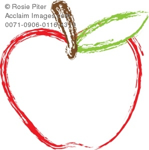 298x300 Outline Of An Illustrated Red Apple With A Brown Stem And Green