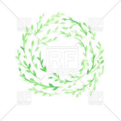 400x400 Green Watercolor Leaf Wreath On White Background Royalty Free
