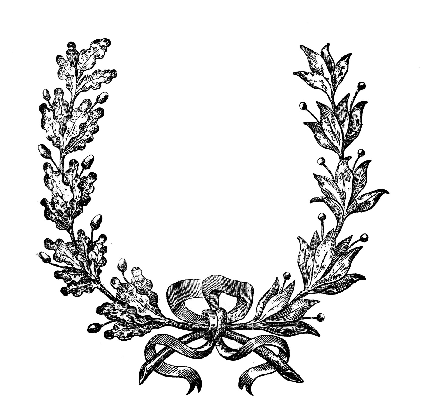 1420x1349 Vintage Clip Art French Wreath Engraving The Graphics Fairy Image