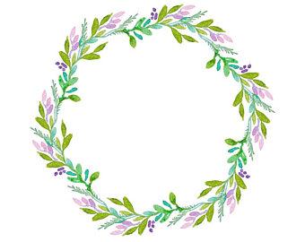 340x270 Watercolour Flower Leaf Wreath Clip Art Digital Download Png