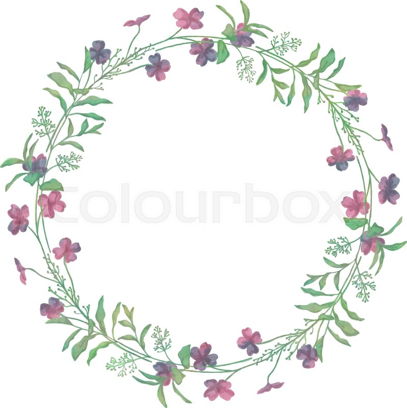 799x800 Drawn Watercolor Greenery Wreath Vector Illustration. Watercolor