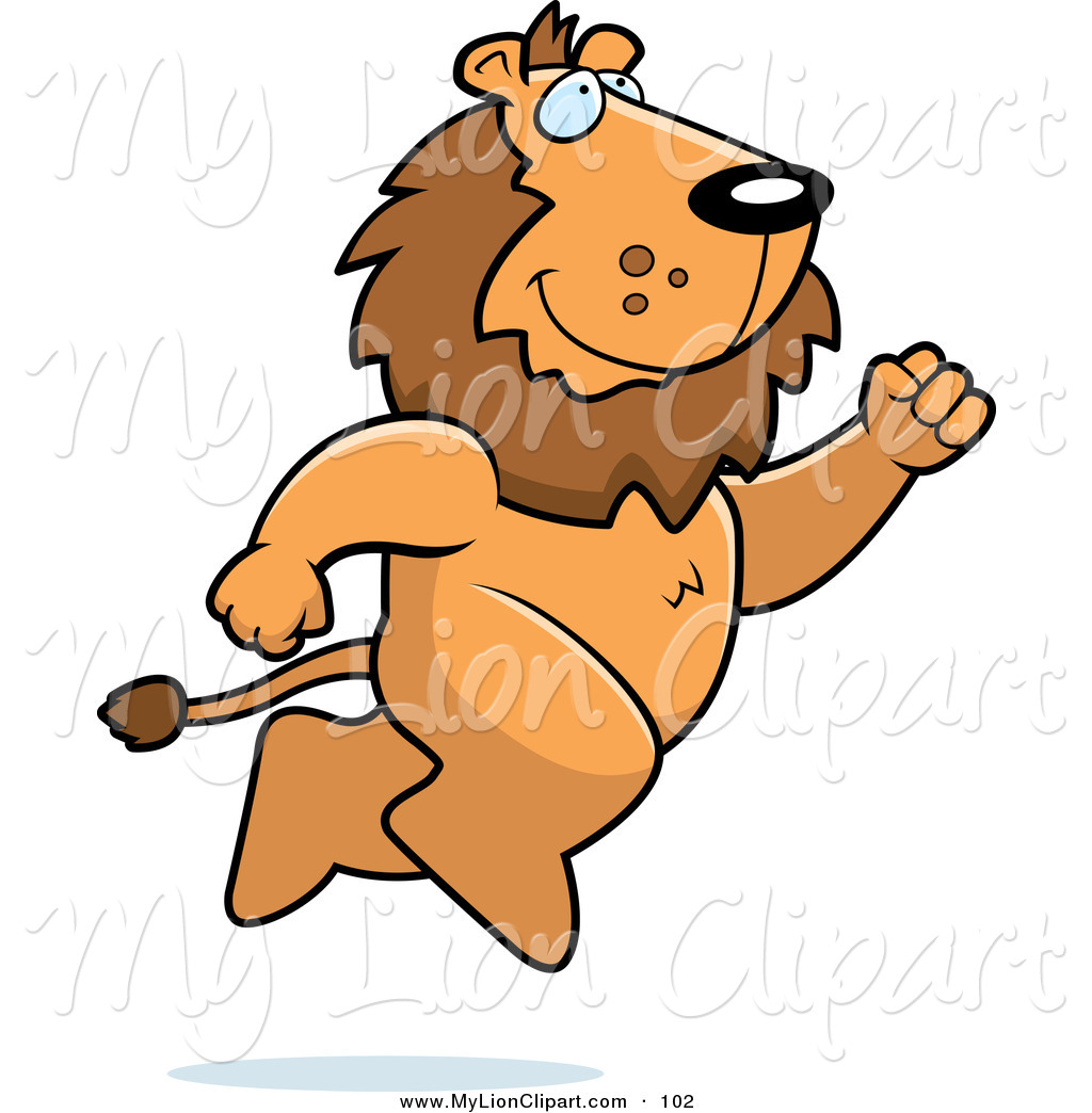 1024x1044 Clipart Of A Happy Lion Taking A Leap By Cory Thoman