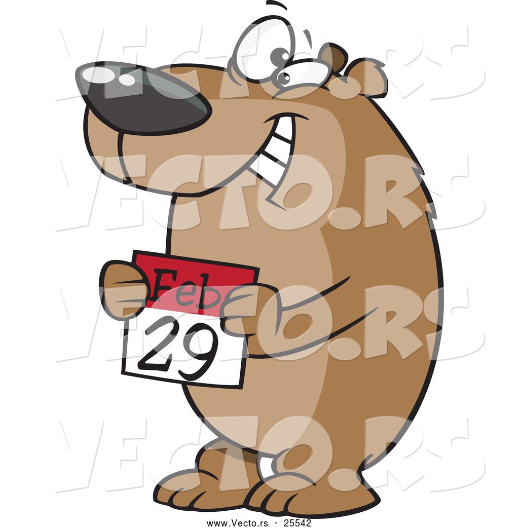 1024x1044 Vector Of A Happy Cartoon Bear Holding A February 29th Calendar
