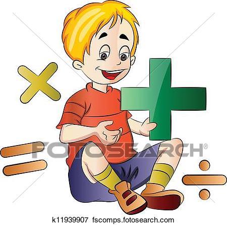 450x445 Clip Art Of Boy Learning Math, Illustration K11939907