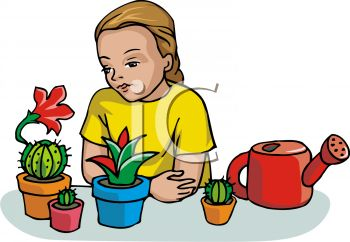 350x242 Royalty Free Clip Art Image Girl Learning To Plant Cactus