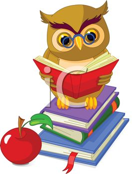 265x350 Royalty Free Clipart Image Owl, Books And An Apple Depicting