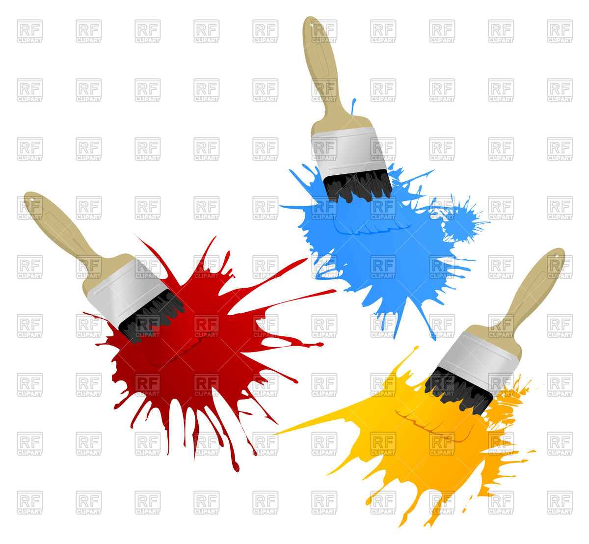 1200x1108 Painting Brushes Leave Blots Royalty Free Vector Clip Art Image