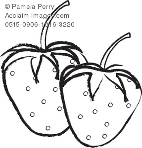 287x300 Black And White Clip Art Illustration Of Strawberries With Seeds