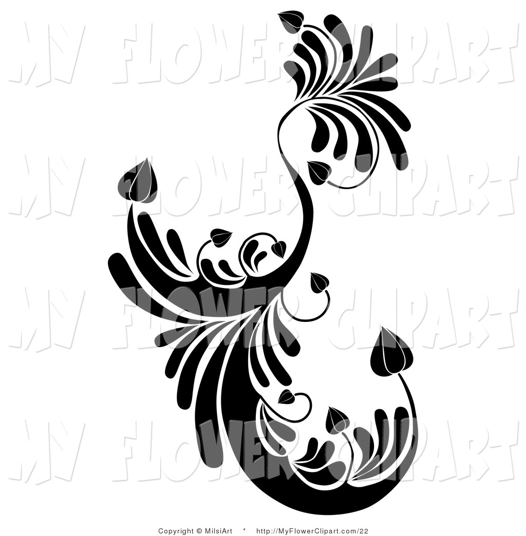 1024x1044 Clip Art Of A Black Floral Swirling Element With Heart Shaped