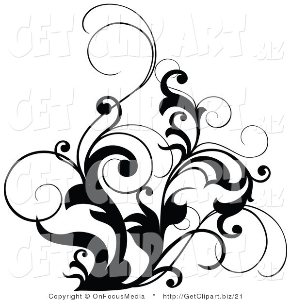600x620 Clip Art Of A Black And White Scrolling Design Accent Of Curly