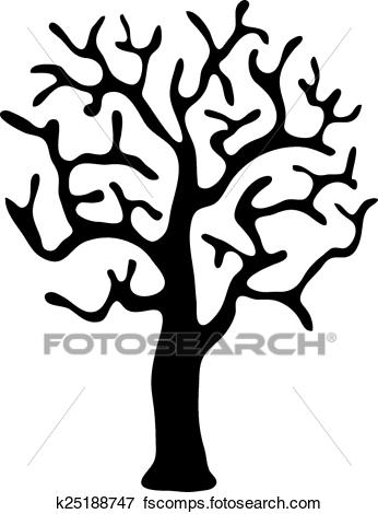 346x470 Clip Art Of Black Tree Without Leaves, Vector K25188747