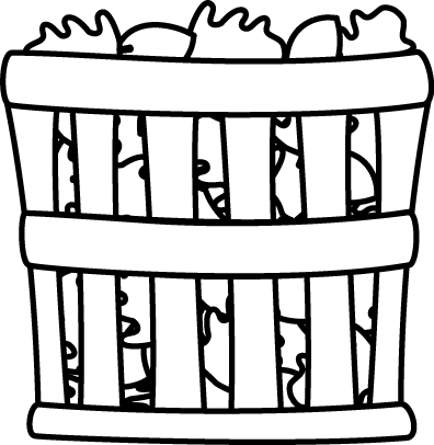 396x406 Black And White Basket Of Leaves Clip Art