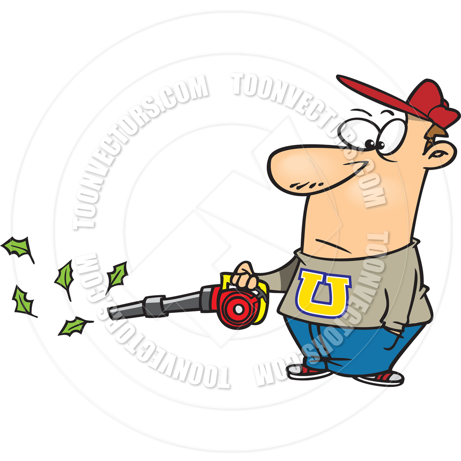 940x940 Cartoon Man Leaf Blower By Ron Leishman Toon Vectors Eps