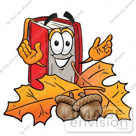 450x450 Clip Art Graphic Of A Book Cartoon Character With Autumn Leaves