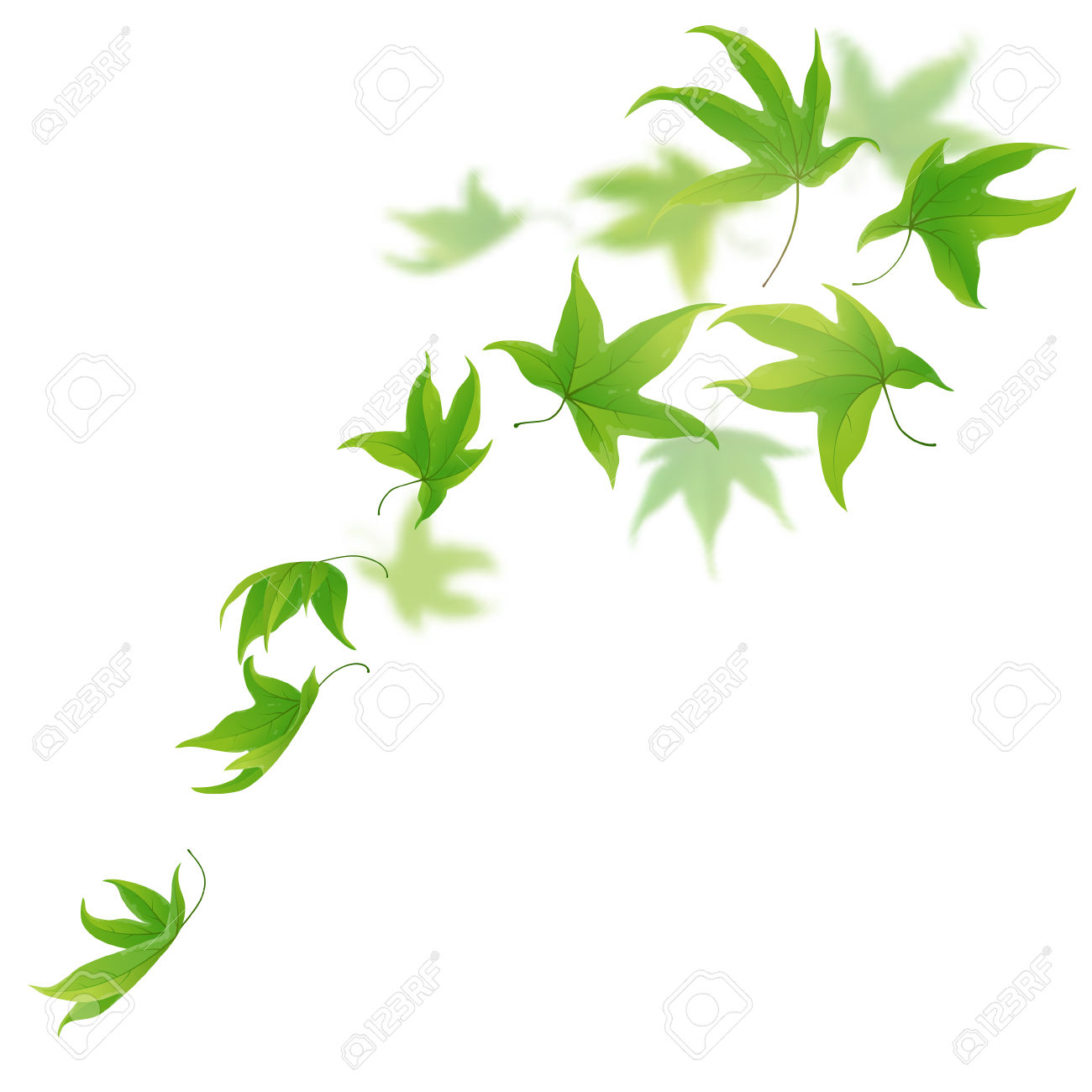 1300x1300 Green Clipart Falling Leaves