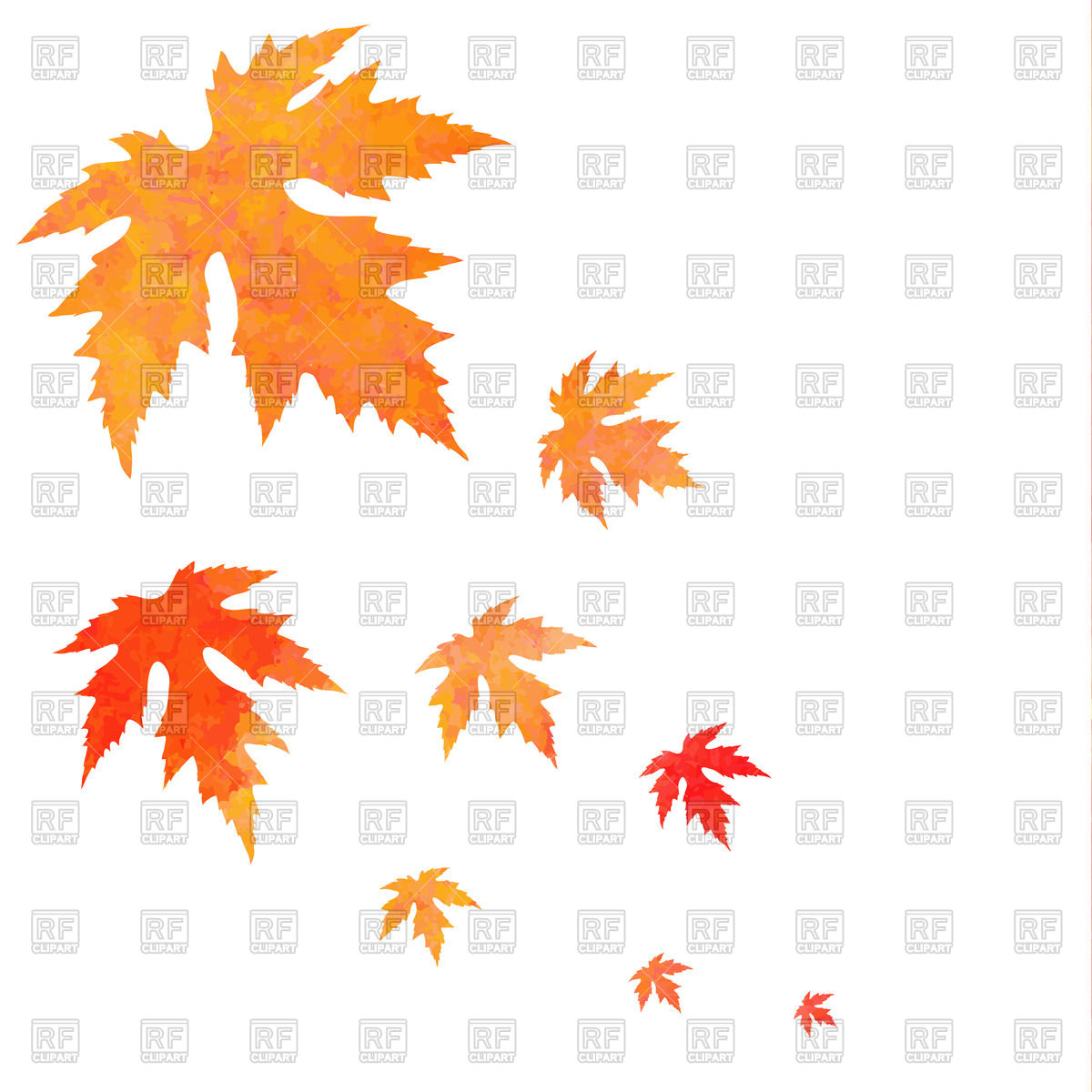 1200x1200 Watercolor Painted Orange Falling Maple Leaves Royalty Free Vector