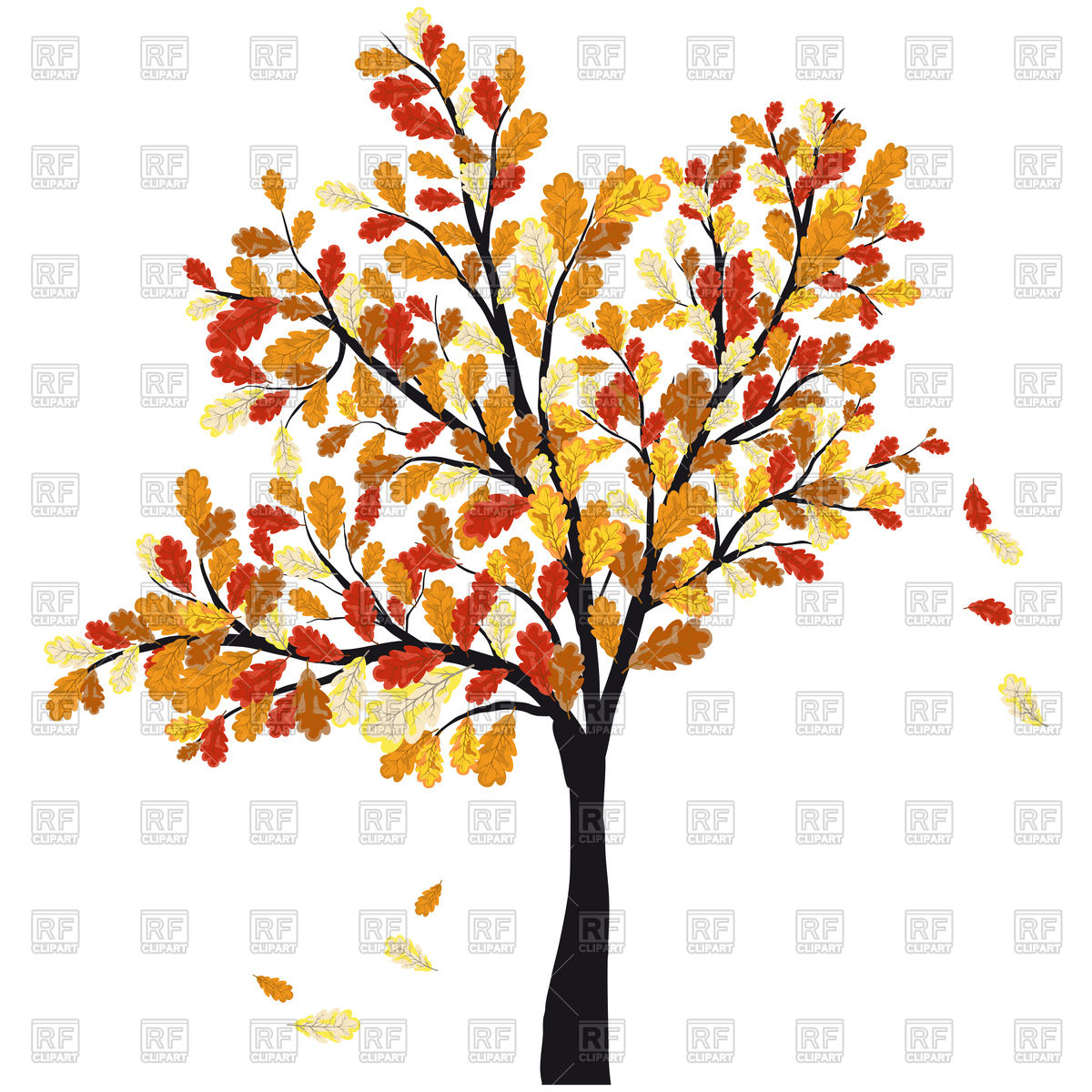 1200x1200 Autumn Oak Tree With Falling Leaves Royalty Free Vector Clip Art