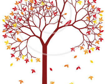 340x270 Autumn Tree Branch With Letters Falling Leaves And Birds