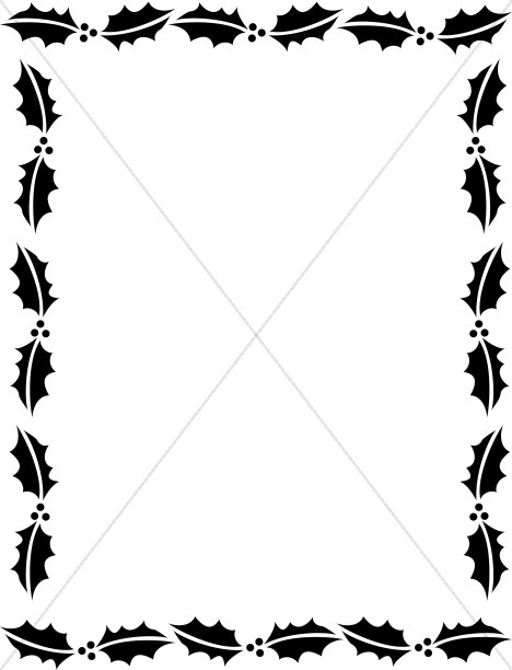 468x612 Outline Of Holly Leaves In Black Winter Borders