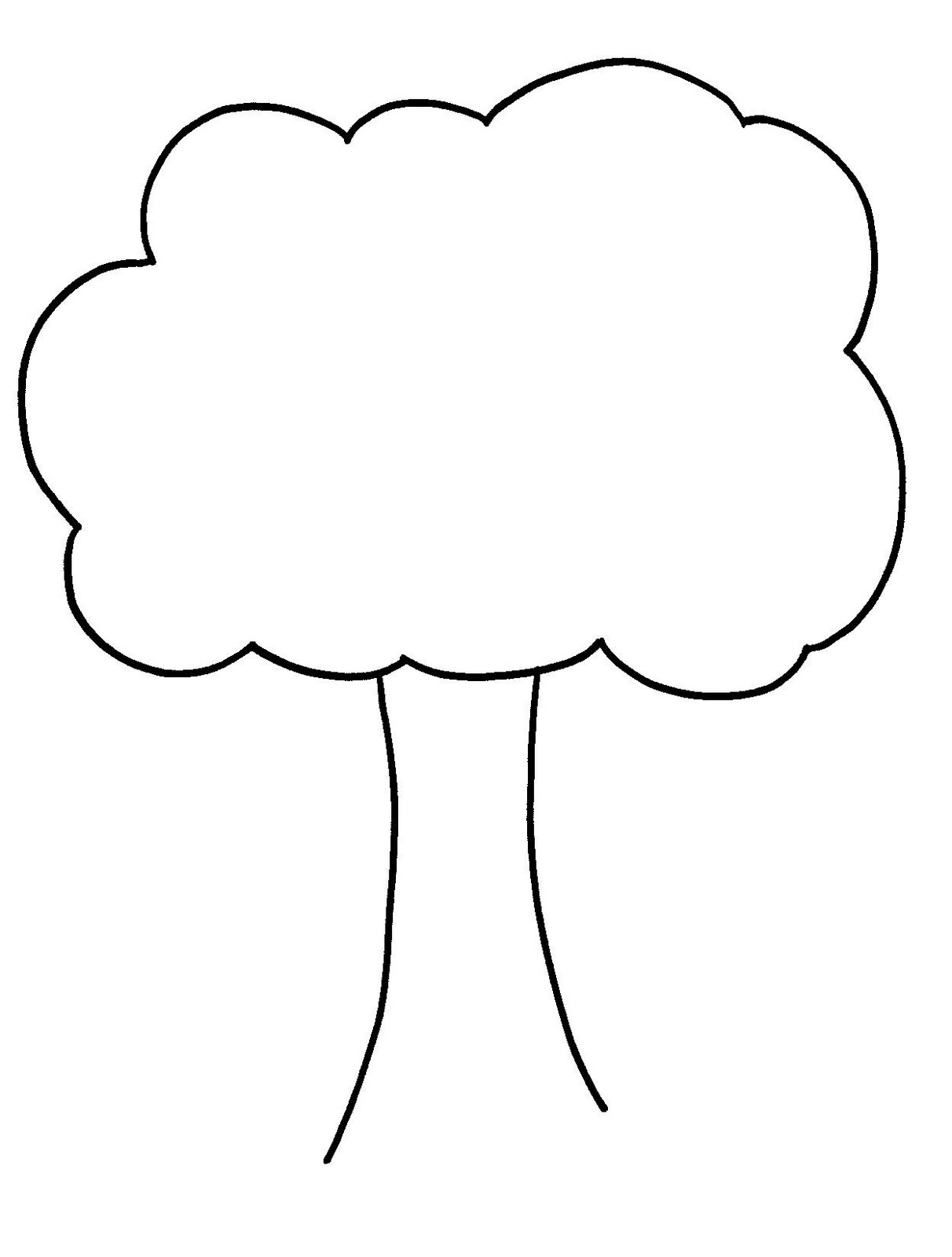 1212x1600 Tree Outline With Leaves Clipart